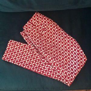 LOFT Size 2 Red & White Marisa Skinny Pants
